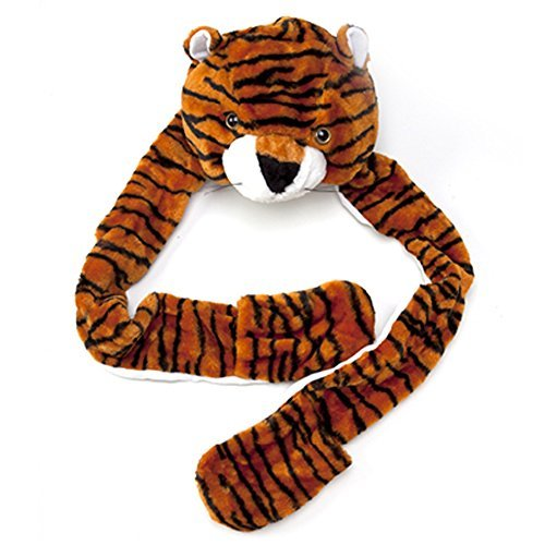 Boy Girl Toddler Plush Animal Warm Hats Beanie with Paws, Long Mittens - Tiger