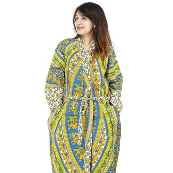 Green elephant mandala night intimate indian housecoat dressing gown casual  wedding dress maxi e028b516d