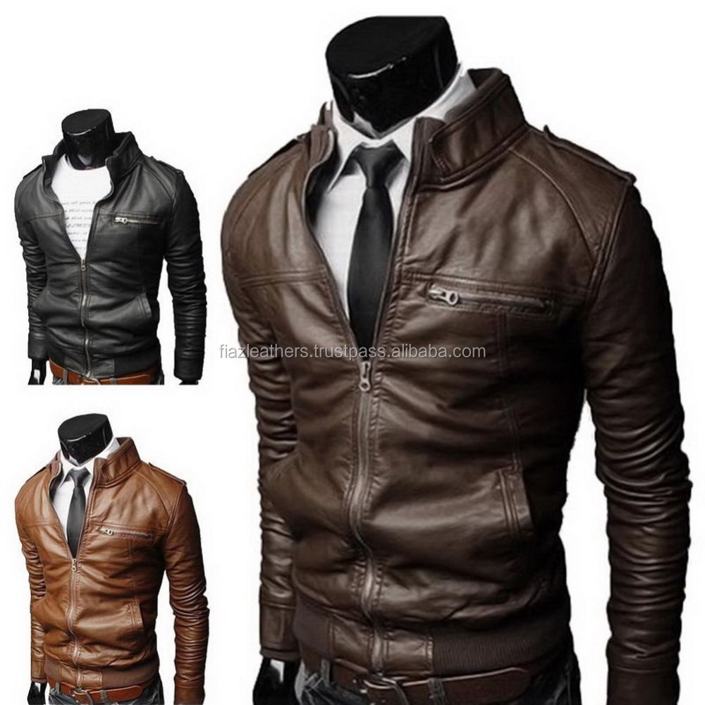 bt 501 Men's Fashion Jackets Collar Slim Biker Motorcycle Leather Jacket Coat Outwear