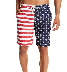 OEM Polyester Mesh Brief Lining Contrast American Flag And Palm Tree Print Construction Swim Trunk