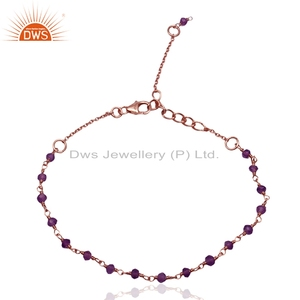 Natural Amethyst Beaded Gemstone Bracelet Rose Gold Plated Silver Chain Bracelet Girls Jewelry Manufacturer