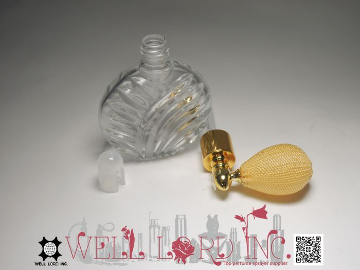 Relaxing perfume powder use small glass bottle with cap 16g green color bulb powder sprayer