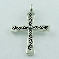 Cross Pendant Oxidised 925 Sterling Silver Plain Silver Pendant, Silver Jewellery Wholesaler & Manufacturer India