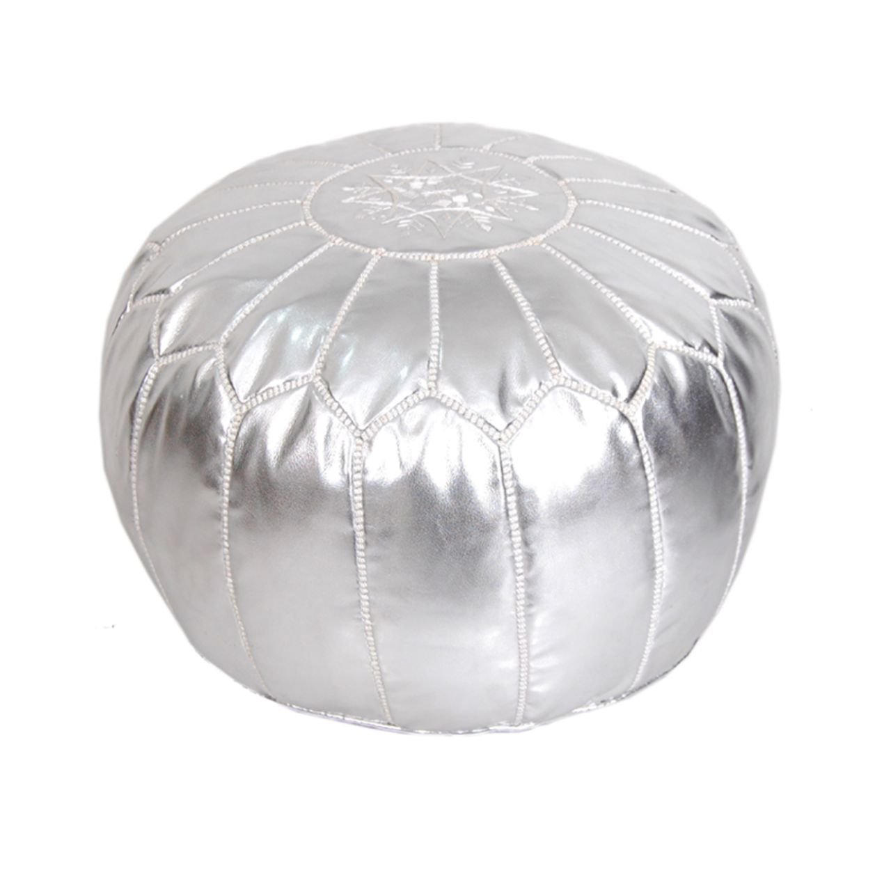 Moroccan Pouf Ottoman Footstool (Faux Leather) Genuine Hand-Stitched Seating | Unstuffed | Living Room, Bedroom, Sitting Area | Silver | Exclusive Designs