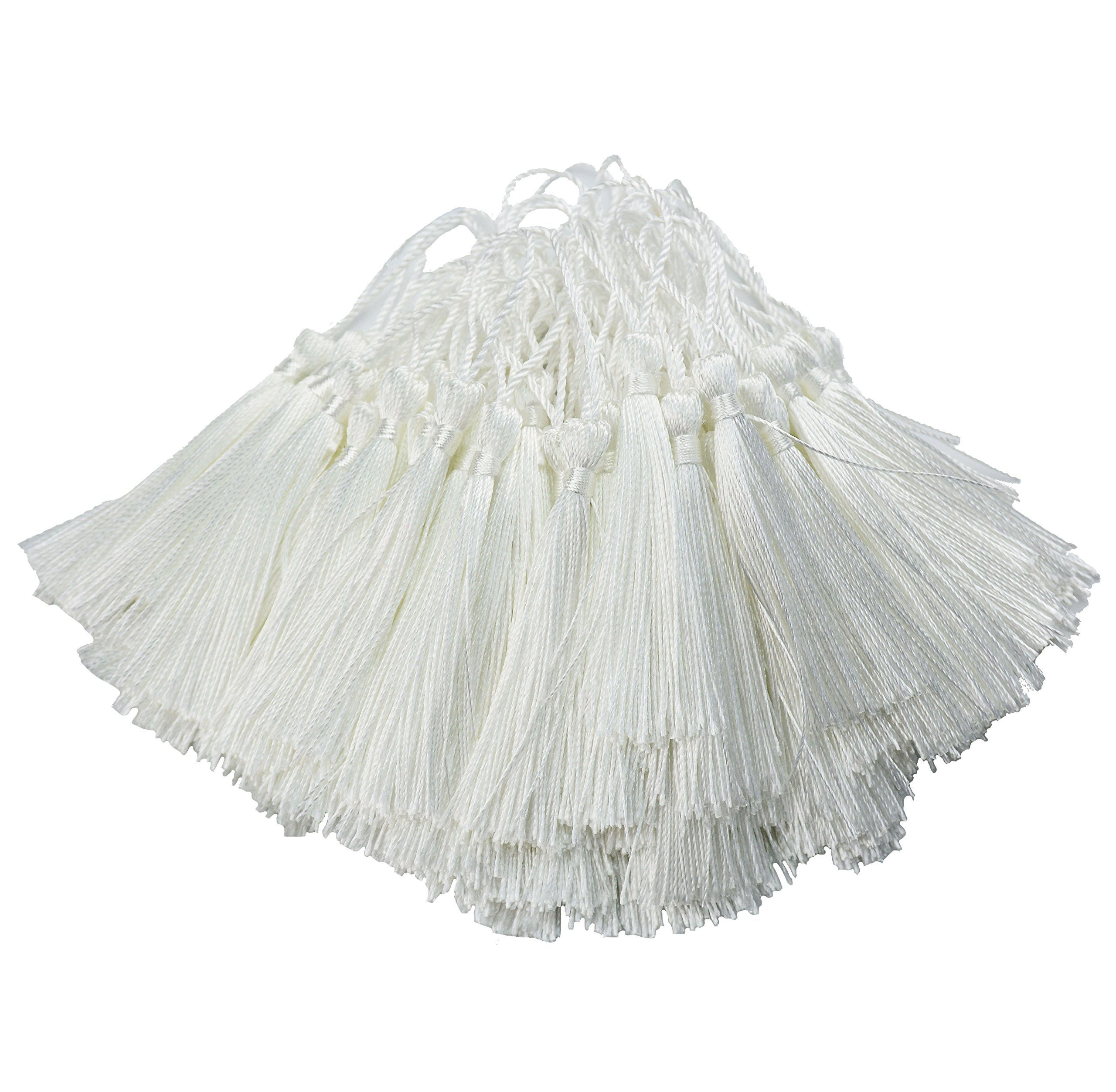 100pcs 13cm/5 Inch Silky Floss bookmark Tassels with 2-Inch Cord Loop and Small Chinese Knot for Jewelry Making, Souvenir, Bookmarks, DIY Craft Accessory (White)