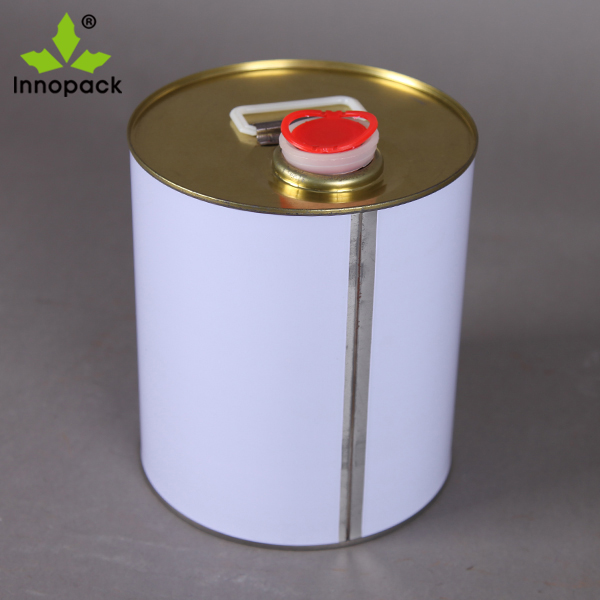 5 Liter Round Lube Oil Tight Head Metal Tin Can with Spouts