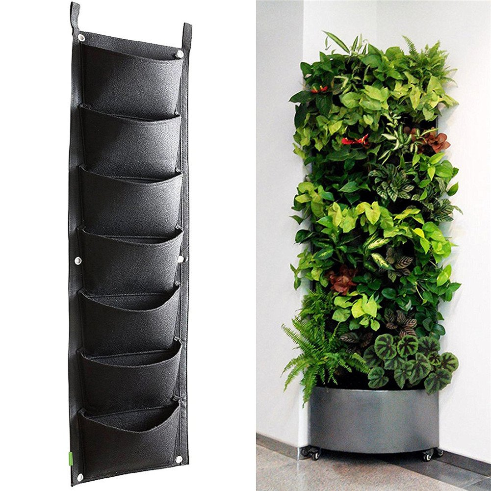 Get Quotations · 7 Pockets Vertical Wall Planter, Wall Hanging Garden Fence  Planters Plant Grow Bag For Herbs