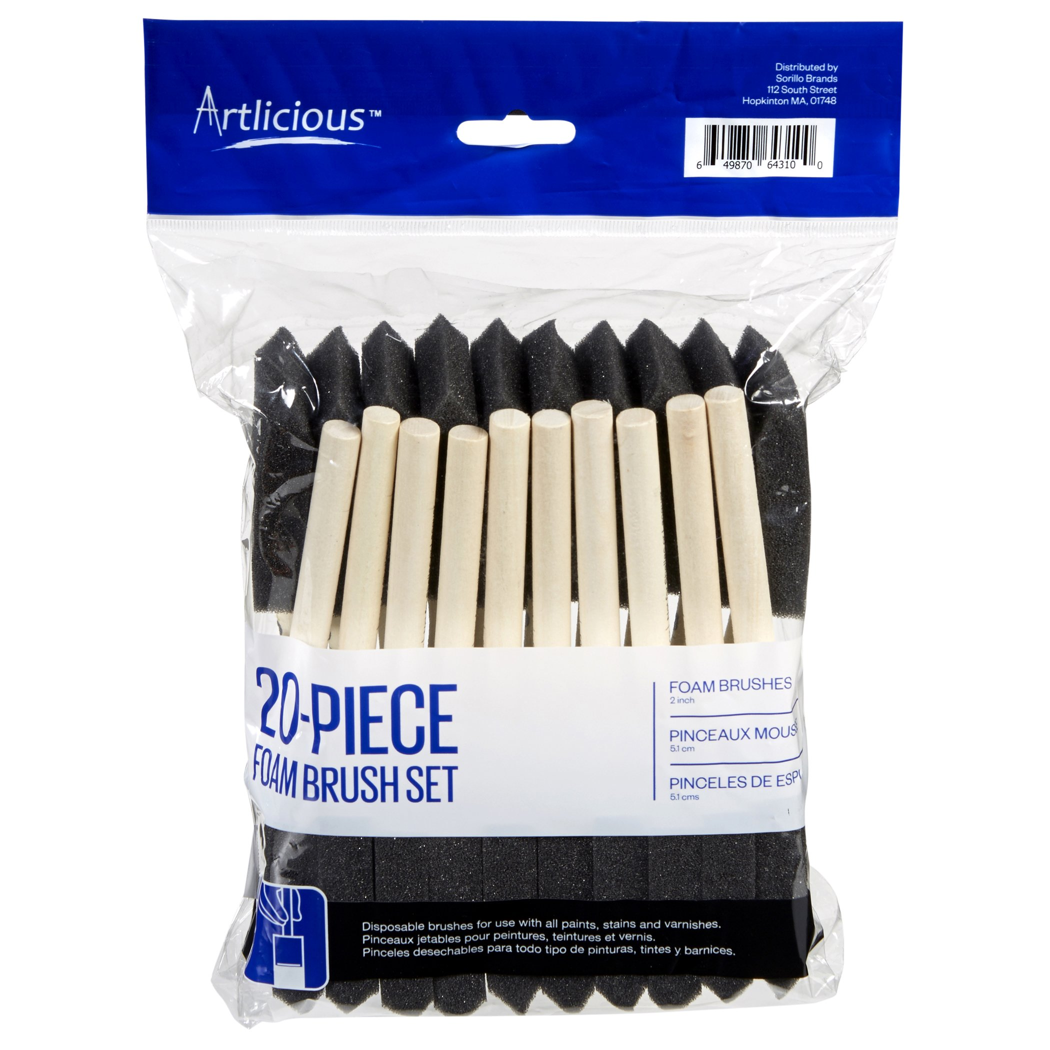 Artlicious - Foam Paint Brush Value Pack (Two Inch - 20 Pack)