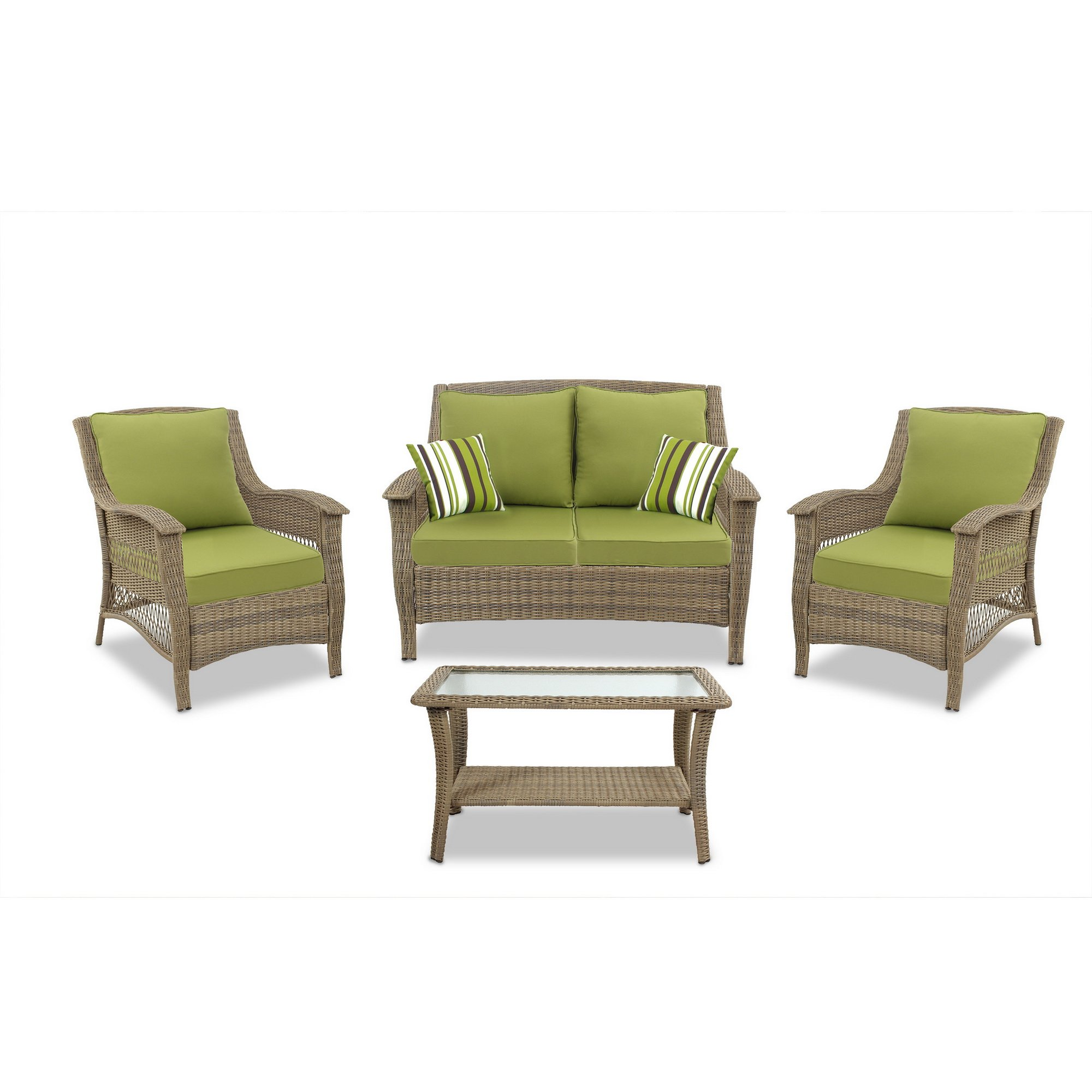 Quality Outdoor Living Greenport All-Weather Resin Wicker Deep Seating Patio Set, 4-Piece, Light Brown with Green Cushions