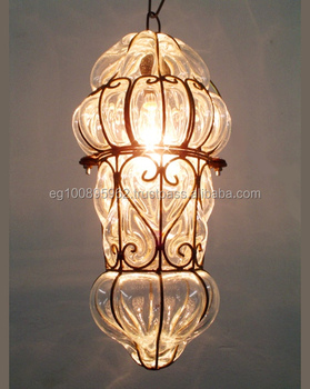 B80 French Style Clear Gl Wrought Iron Art Deco Hanging Lamp