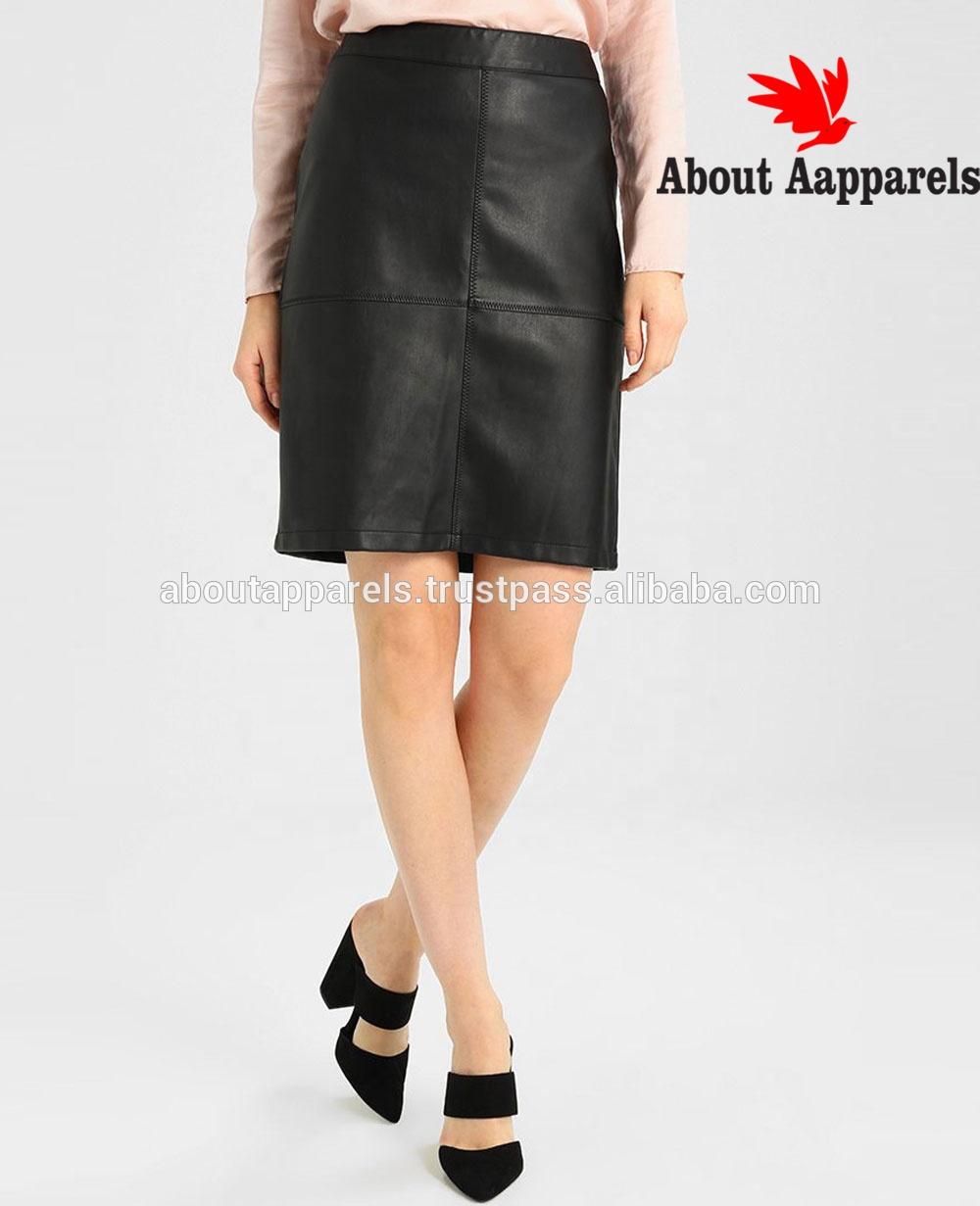 2a28529cccd46 Moderner Damen-Leder-Minirock mit Knopf-Design, heißer verkaufender  Frauen-kundenspezifischer lederner Bleistiftrock,