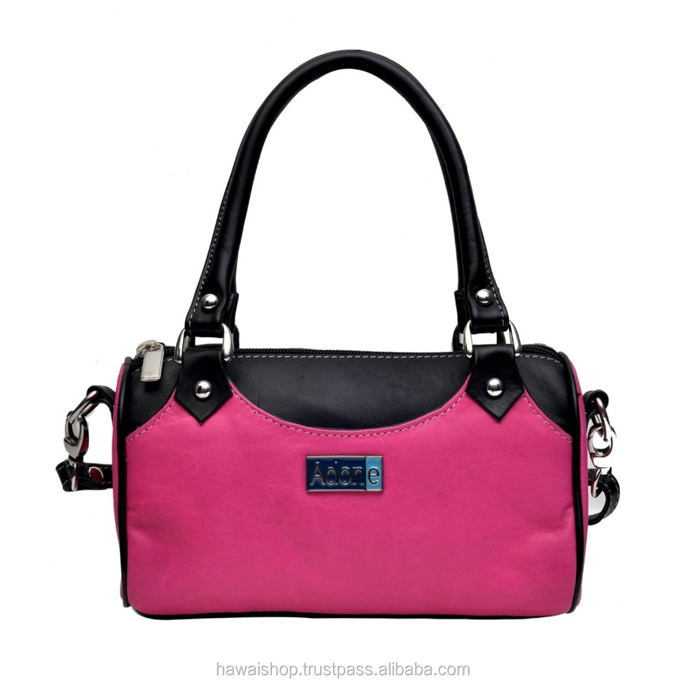 Adone Leather Small Pink & Black Hand Bag