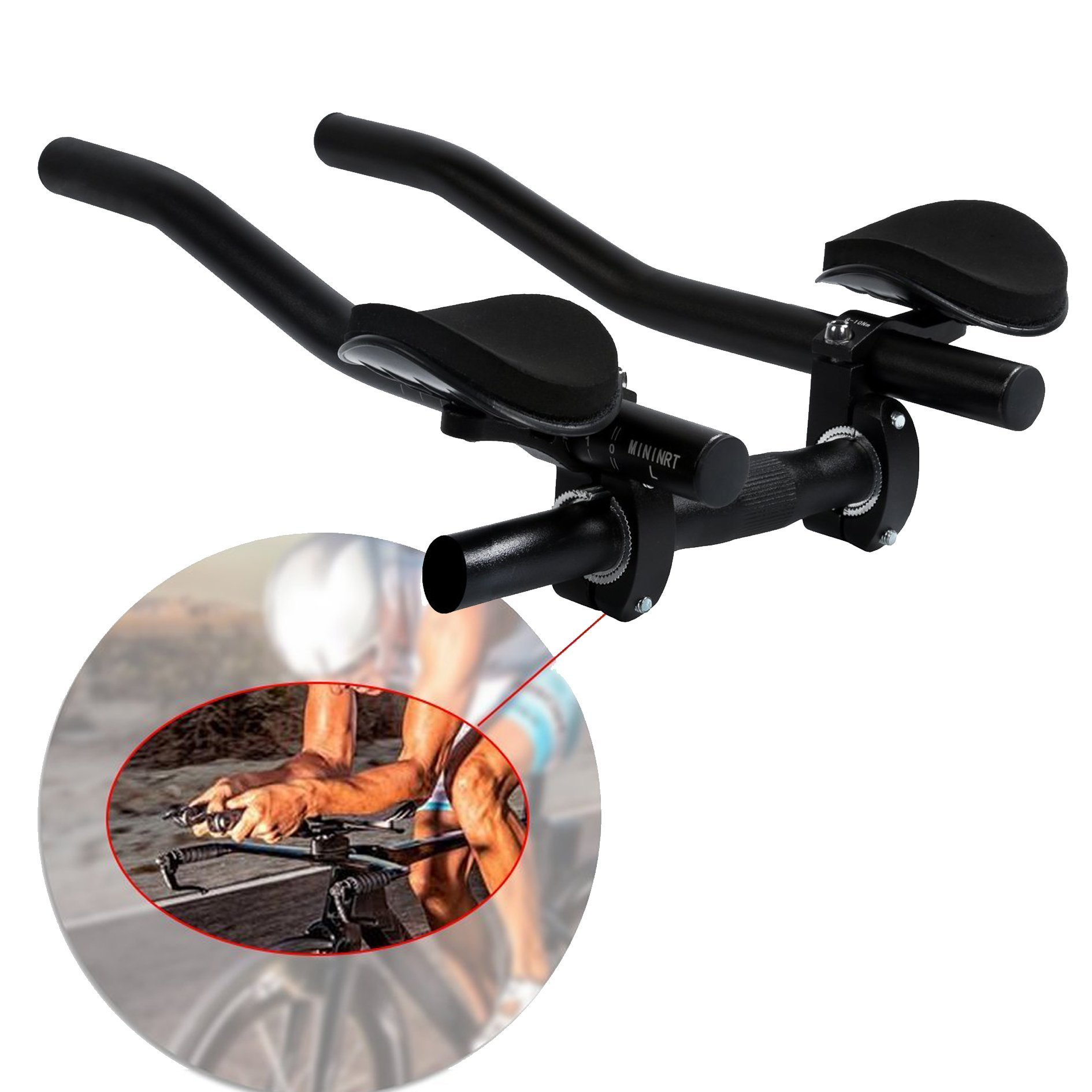 4ccef55af4e Get Quotations · Handlebars hybike T6 Aero Bars Triathlon Handlebar  Extension TT bars for Mountain Bike or Road Bike