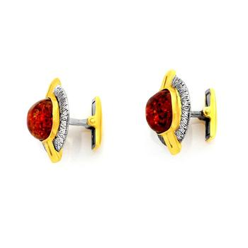 Silver gilded men cufflinks with cognac amber