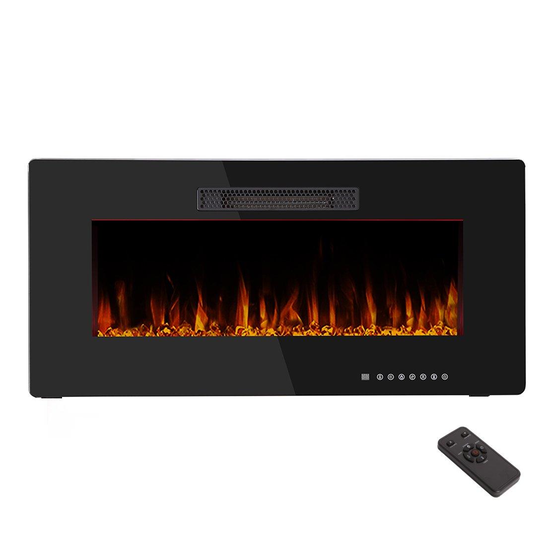 R.W.FLAME 36'' Electric Fireplace Heater,Wall Mounted & In-wall Recessed Fireplace Heater Flat Panel,Adjustable with Remote Control,750W-1500W,Black, 1 Years Warranty