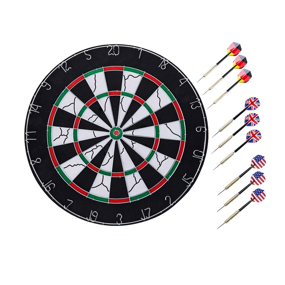 Liufanny Dartboard Professional Tournament Steel Tip Dart Board,Double-sided Flocking Dartboard, Dart Game Set with 9 Brass Darts(18 inches)