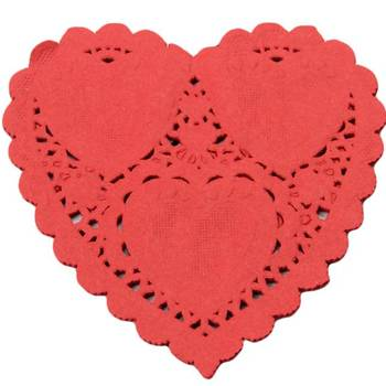 Beautiful Lovers Valentine Heart Shape Paper Lace Doilies Pads Mats Place Mats Table Mats