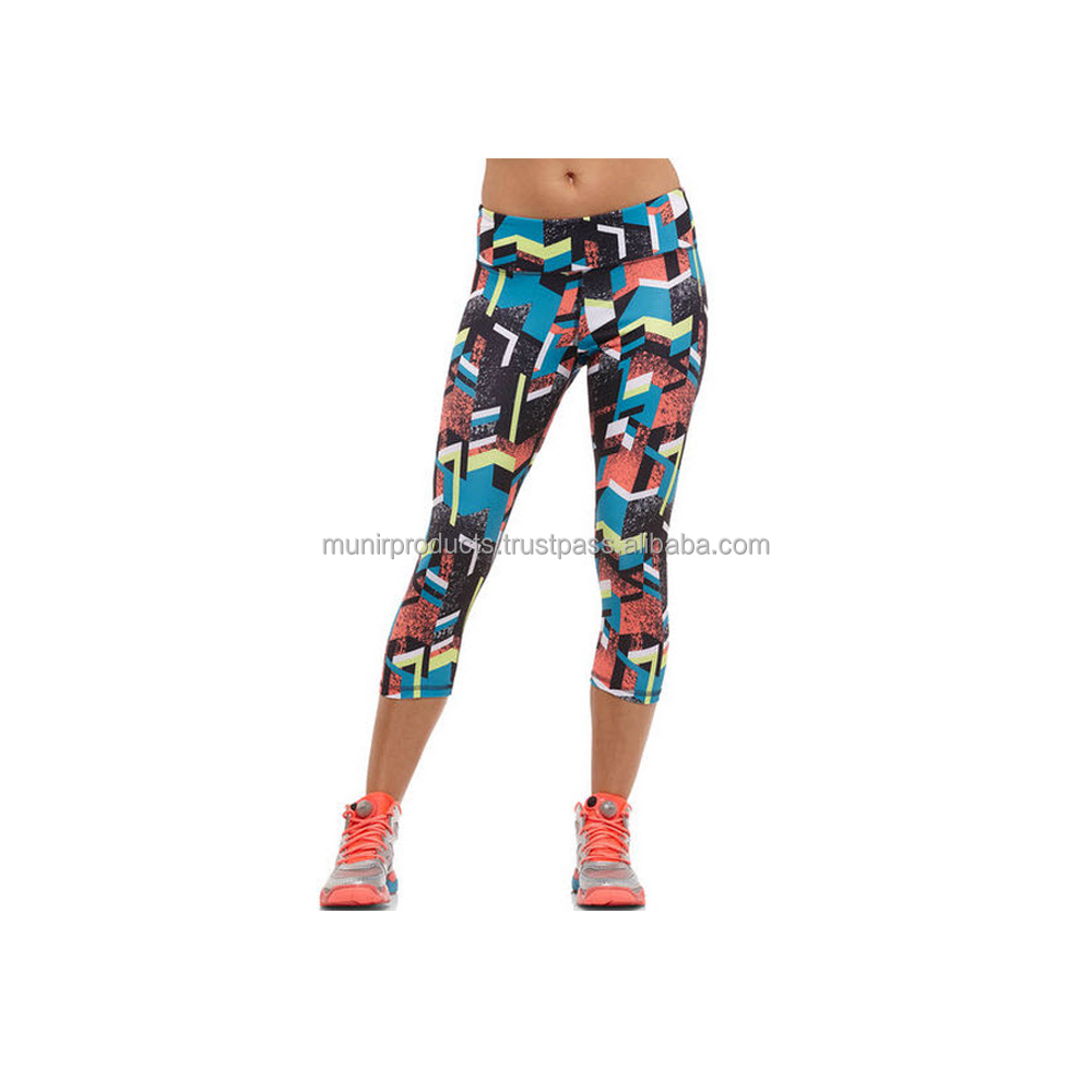 Custom printed short style Women Sports wear Compression tights