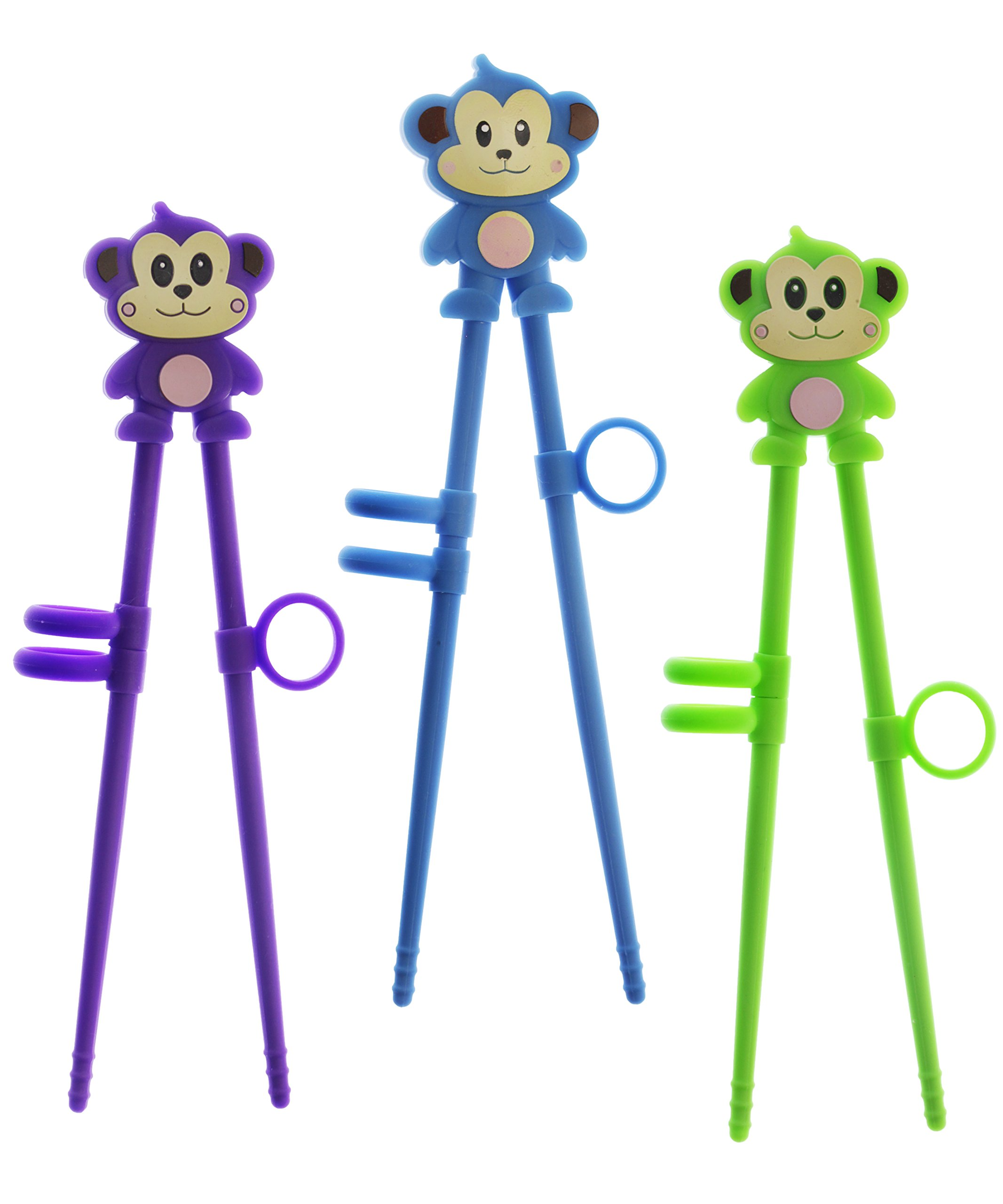 Kids Monkey Chopsticks - Training Chopsticks for Beginners, Kids, Teens or Adults - set of 3 Animal Silicone Blue, Green, Purple