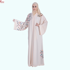 2018 Pavo new New Models Everyday Elegance Abaya with White Leave-Shaped Embroidery Arabic Dubai Abaya Kaftan Dress