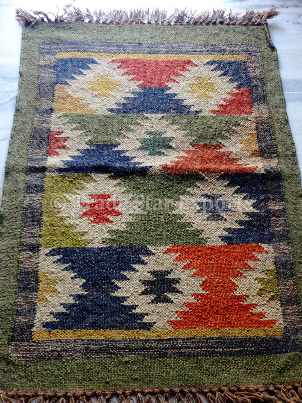Turkish Kilim Oriental Area Rug Floor Carpet Kelim Block Print Yoga Mat Art