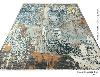 Hand Knotted Indian Contemporary Wool Silk Rug And Rugs India Blend Product On