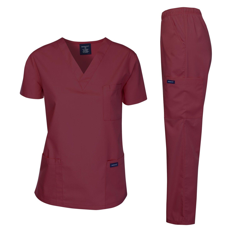 2 V-neck Printed Scrubs Tops and Scrubs Pants Medgear 3-Piece Scrubs Combo