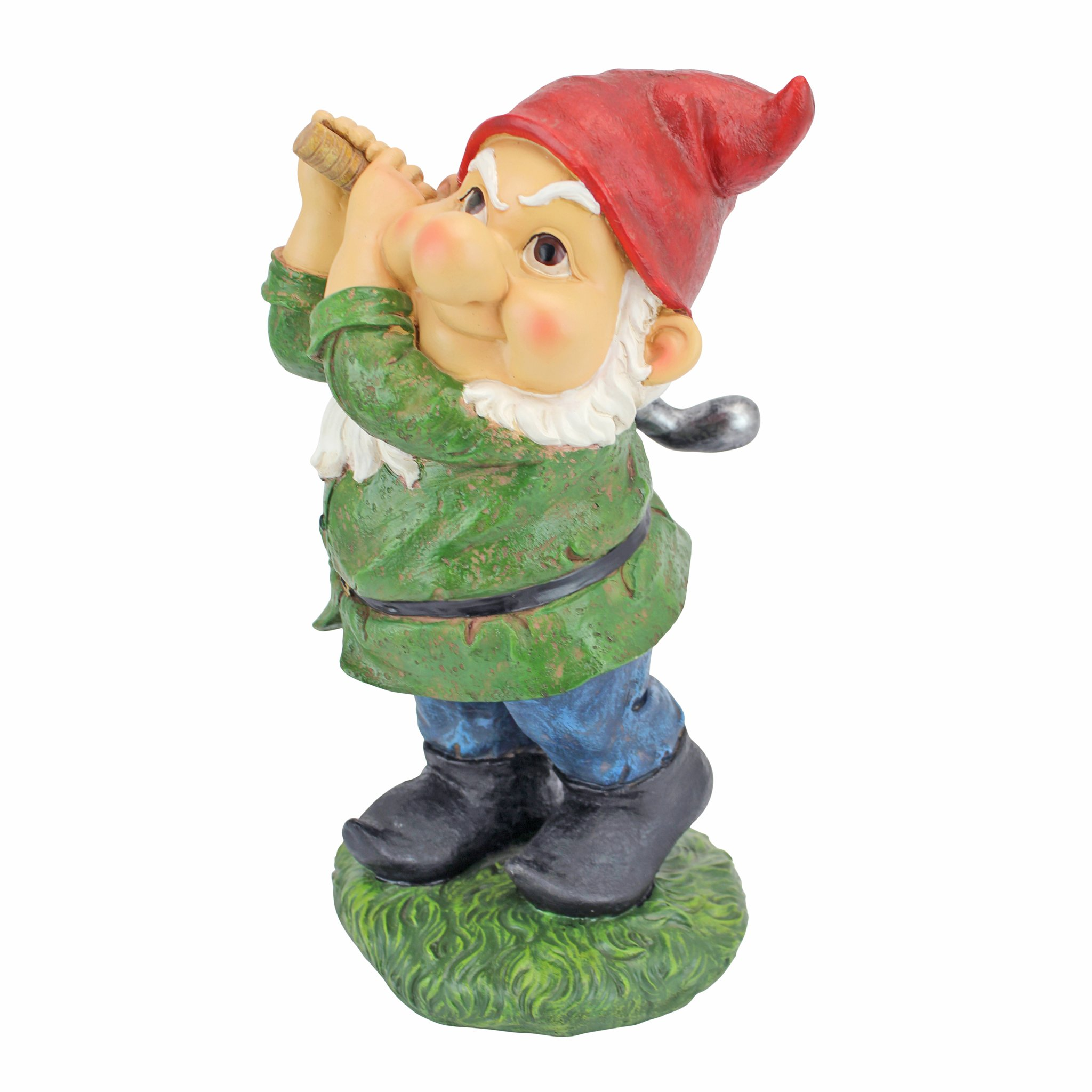 Design Toscano Bigey Burt Funny Golfing Garden Gnome Statue, 12 inch, Polyresin, Full Color