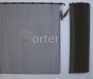 Black steel eco-friendly fireproof wire mesh fireplace mesh