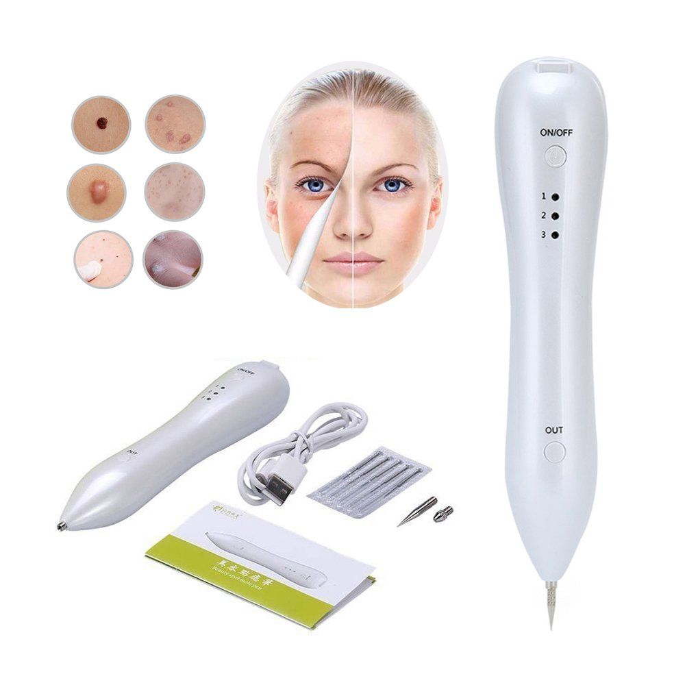 Mole Removal Tool,Professional Laser Freckle Removal Pen Age Dark Spot Remover Pen Mole Removal System With No Bleeding For Skin With Freckle Spot Tattoo Mole,Including Replacement Needles