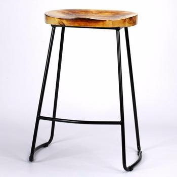 Furniture Metal Wood Top High Bar Stool
