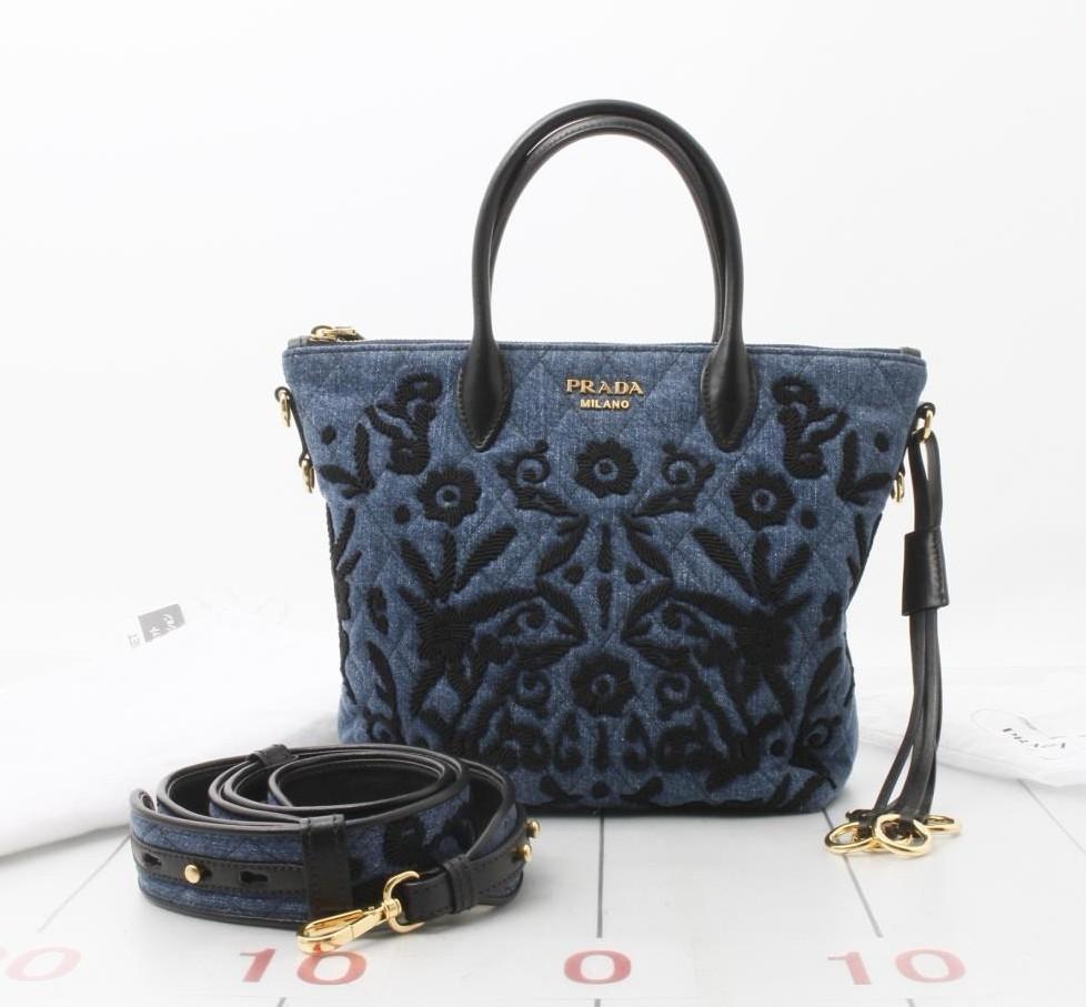 c5ee446da3 Pre Owned Used Designer Brand Handbag Prada Denim 2way Tote Bag ...