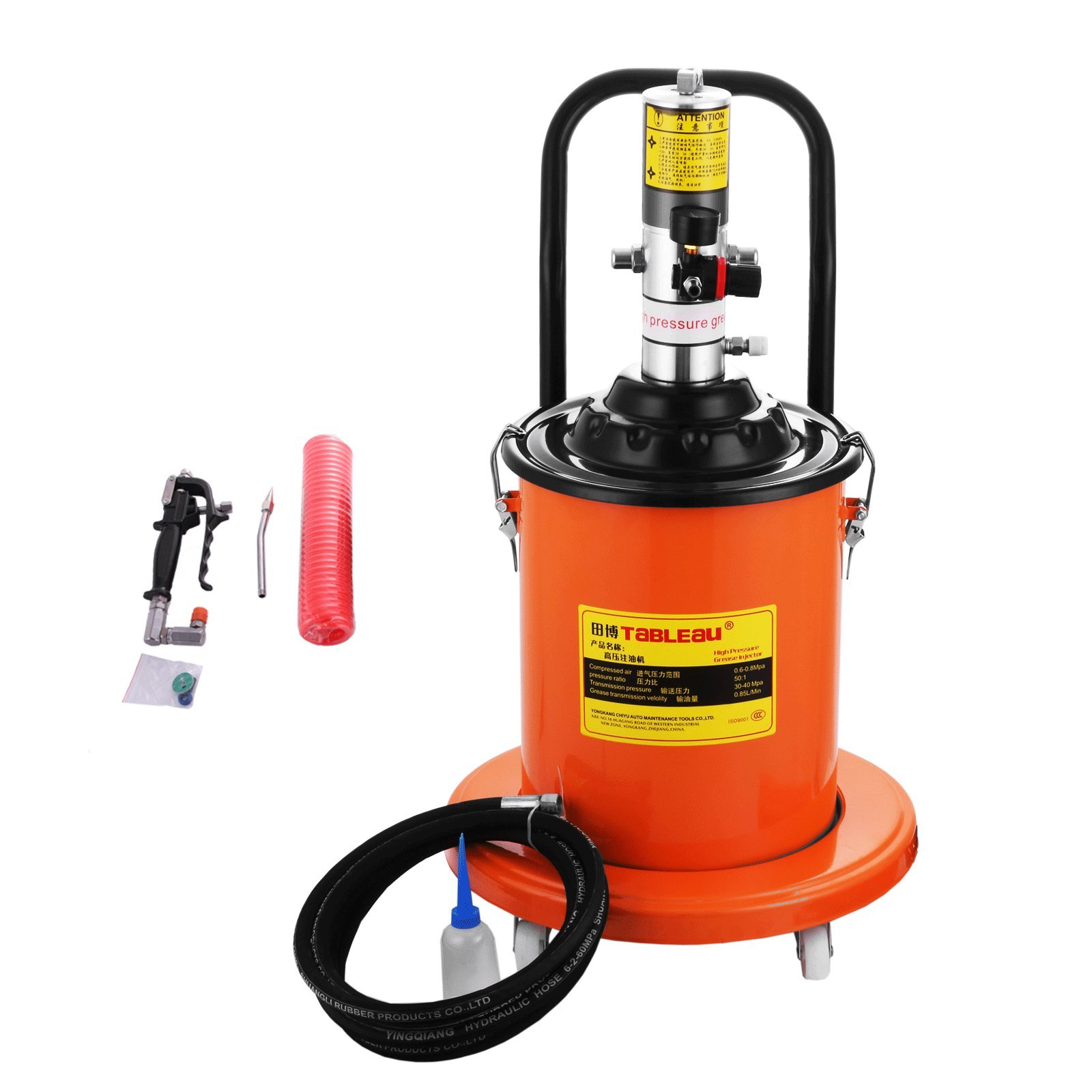 Happybuy Grease Pump 5 Gallon Electric Grease Pump Air-Operated Portable Grease Pump 0.85L/Min High Pressure Grease Pump