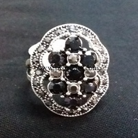 Silver Ring With Black Gemstone