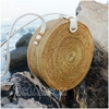 new tren popular circle round bag straw rattan summer design full handmade with white leather strap cheap price