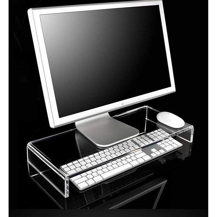 Computer Screen Lucite Riser Plinth Bridge Clear Acrylic TV Monitor Laptop LCD Stand