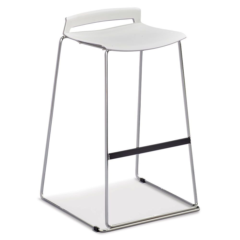 """Set of 4 Stacking Stool with Chrome Frame White Plastic/Chrome Finish Steel Frame Dimensions: 18.70""""W x 18.70""""D x 31.10""""H Seat Dimensions: 15""""Wx14.5""""Dx27.5""""H"""
