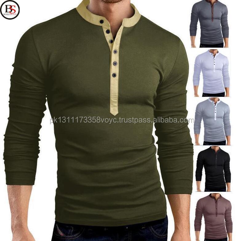 18f02649 ... usa mens casual slim long sleeve polo shirt up henley t shirt tops  shirts 3xl 4baae