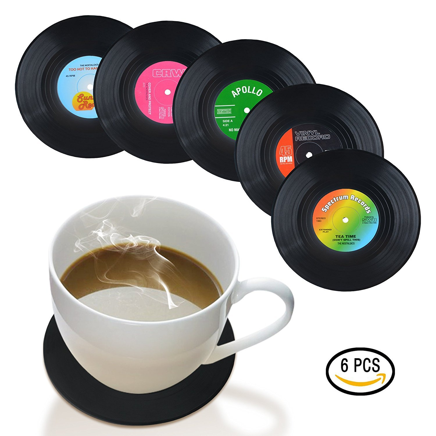 Record Coasters Cup Mat, Retro Vinyl Record Drinks Coasters Cup Mat Classic Music Style 6 Piece
