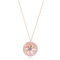 Flower Design Round Shape Rose Gold Plated Necklace Wholesale 925 Silver Sterling Jewelry