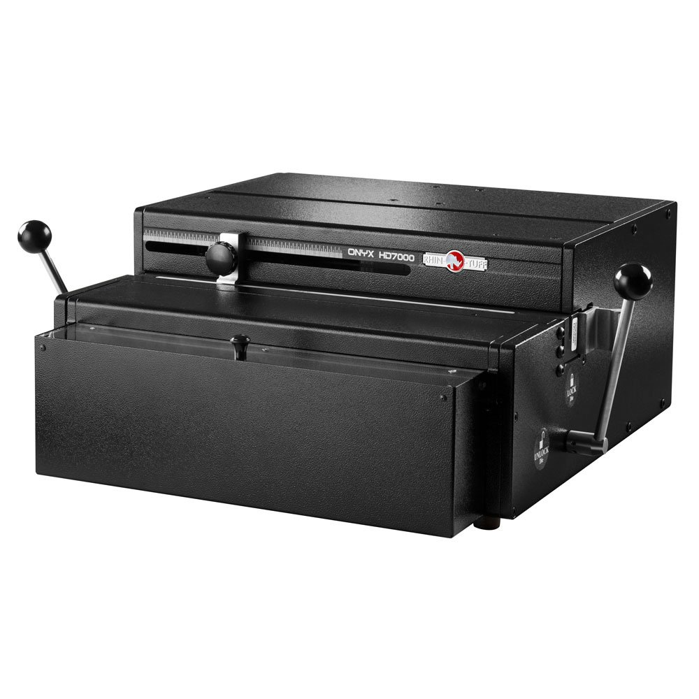 """Rhin-O-Tuff ONYX HD7000 14"""" Open-Ended Table Top Electric Punch w/2:1 Wire Die (Square Hole)"""