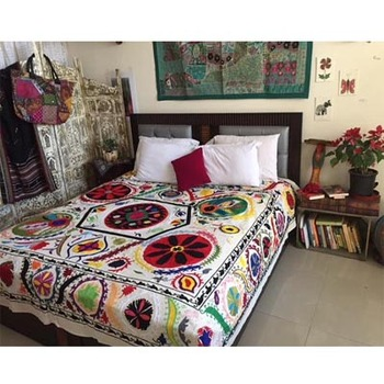 Double Bed Cover Suzani Embroidered Bedspread, Bohemian Boho Home Decor Bedding Sheet,Beautiful Indian Decorative Bed Cover