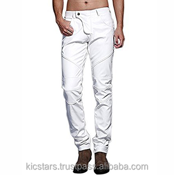 26a50014b722 2018 Best Quality White Fashion Leather Pants For Men - Buy Fashion ...