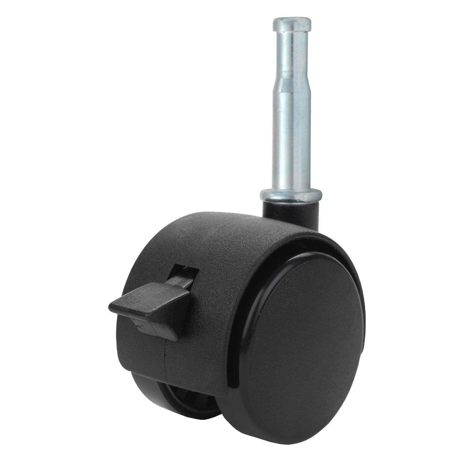 "Twin Wheel Caster Solutions TWHN-40N-G02-BK-B 1.57"" Diameter Nylon Wheel Hooded Brake Caster, 5/16"" Diameter x 1-1/2"" Length Grip Neck Stem, 67 lb Capacity Range"