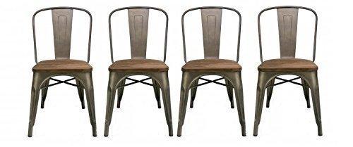 BTExpert Industrial Metal Wood Top Vintage Tabouret Antique Copper Bronze Rustic Distressed Dining Bistro Cafe Stackable Side Chair, Set of 4