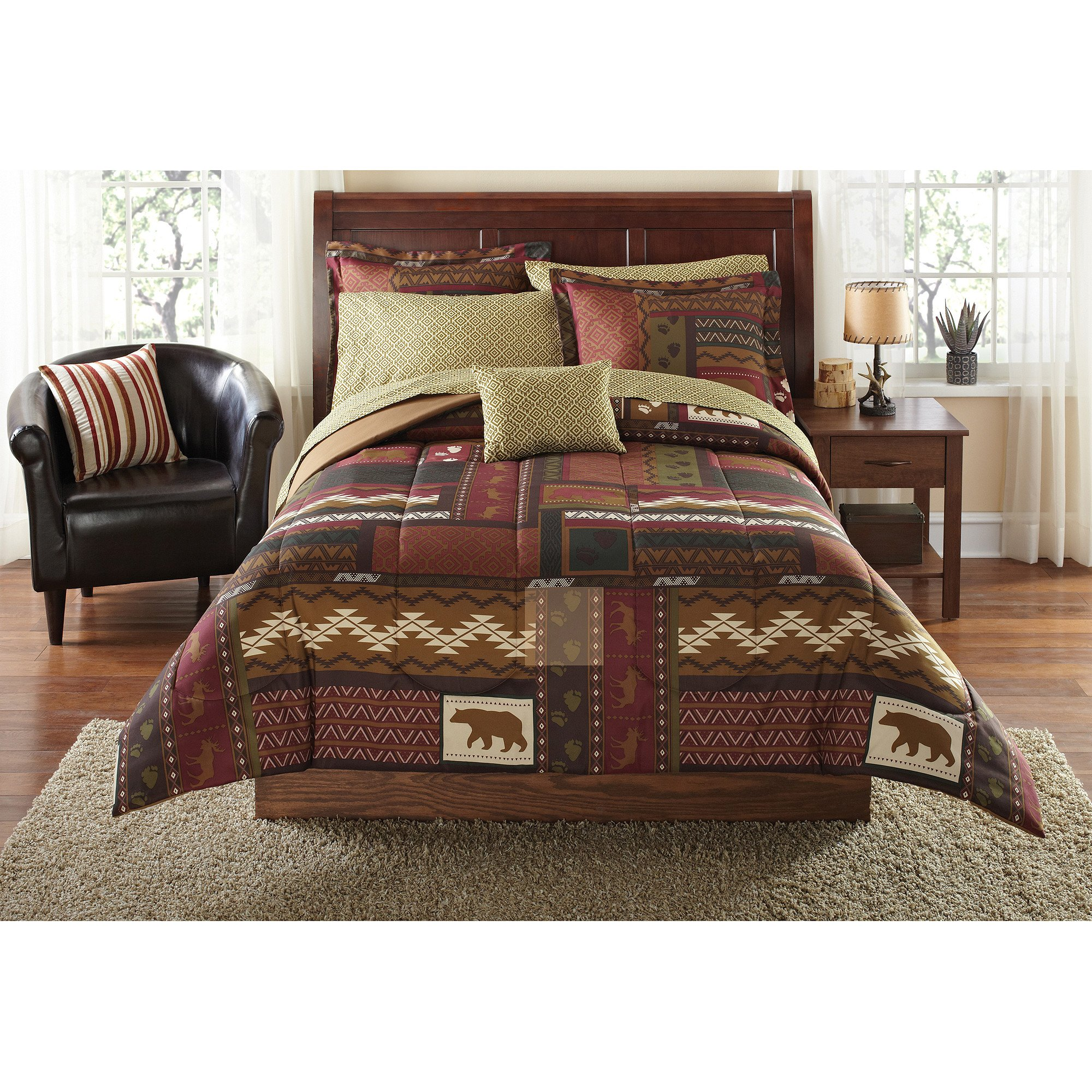 8 Piece Multi Color Patchwork Geometric Moose Printed Comforter Set Twin Twin Xl, Dark Brown Golden Woods Rustic Lodge Cabin Animal Wildlife Bear Footprint Features Kids Bedding Teen Bedroom Polyester