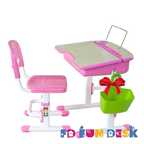 bonded leather desk set 6 piece pink. Get Quotations · FD FUN DESK Height Adjustable Children Desk \u0026 Chair Set, Kids Workstation For School, Bonded Leather Set 6 Piece Pink G
