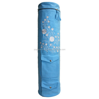 Manufacture 100% cotton Yoga Mat Bag with customized embroidery design
