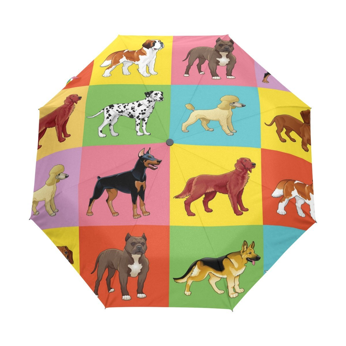 WOZO Colorful Dog Puppy Pug Dachshund 3 Folds Auto Open Close Umbrella