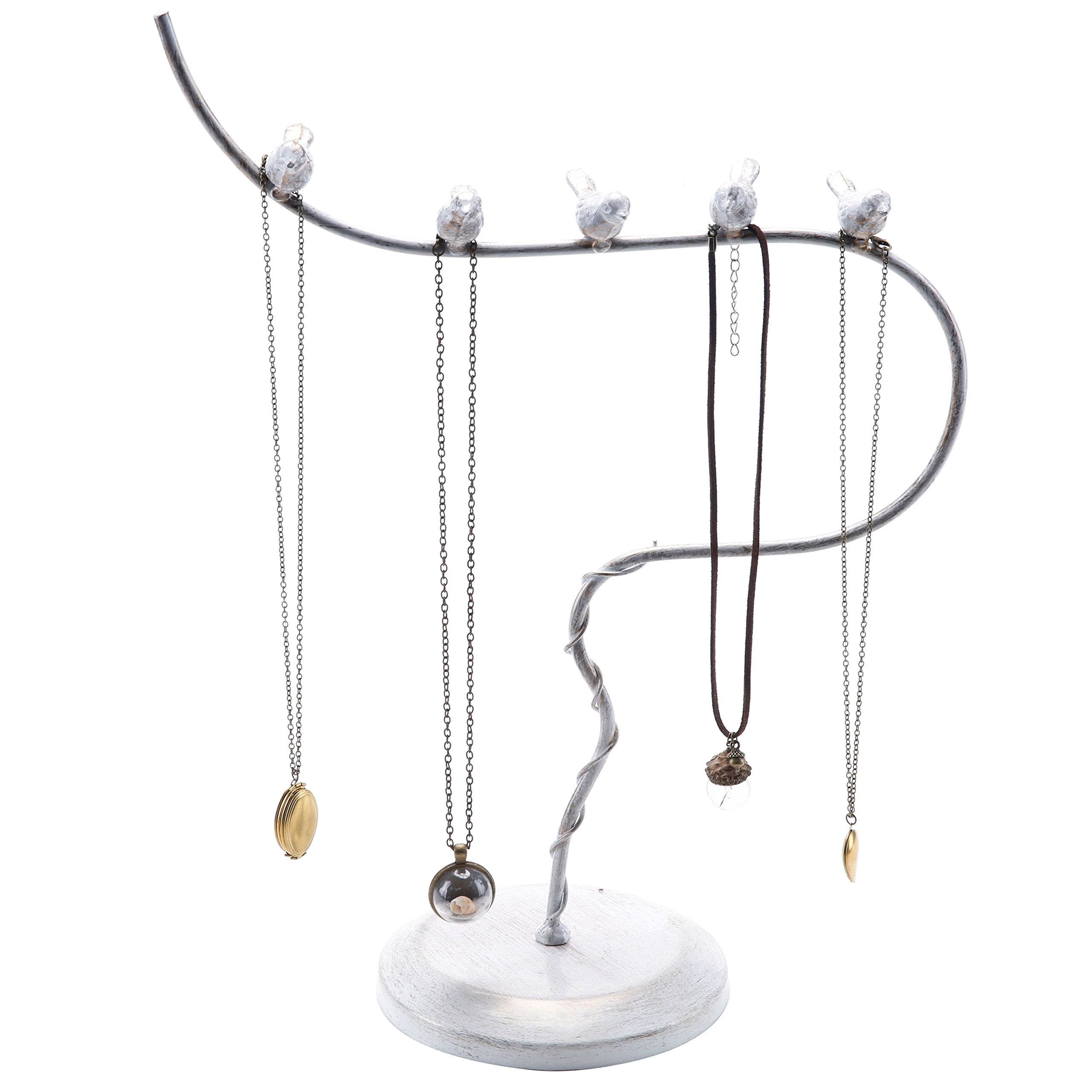 Vintage Style White Washed Metal Bird Design Necklace Jewelry Tree Rack with Metal Base